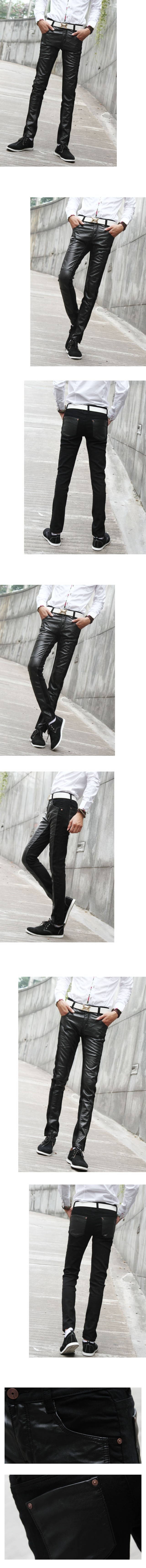 Entong Fashion Slim Casual Breathable Leather & Denim Jointing Men Pants