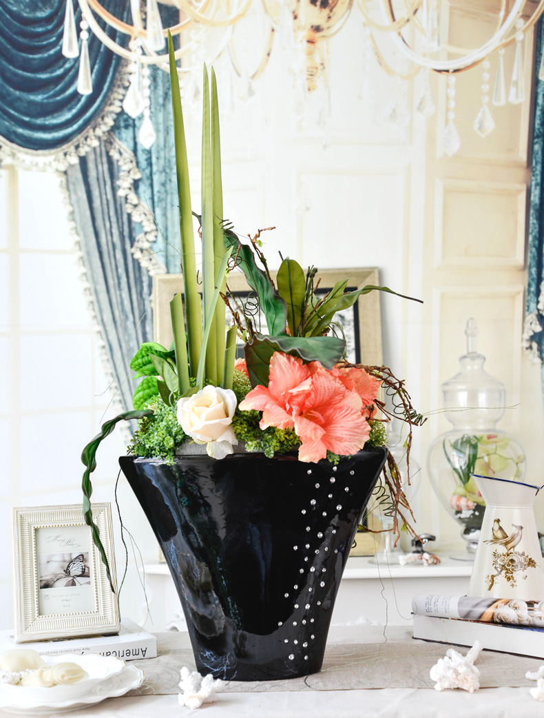 Light and shadow Yixuan Fashion Fastcolours Dining Table Silk Flowers & Vase