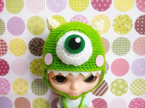 кукла Блайт мало buwa костюм ручной шерсти крючком университета глаз Салли монстр Inc монстр комплект