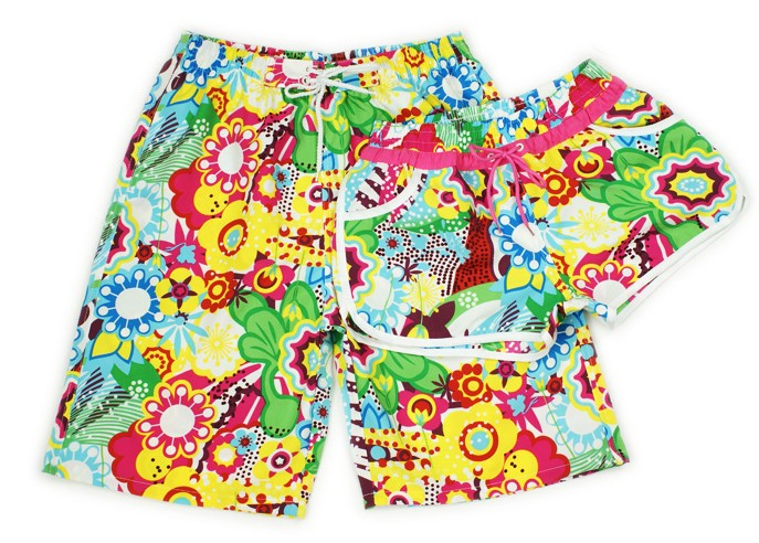 Beach Love Sunflower beach pants five pants pants male and female couple models quick-drying fabric