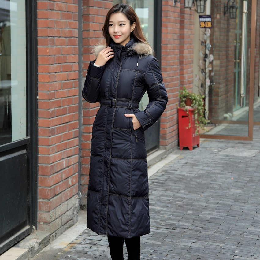 Extra long down jacket female knee super-long and super-thick ...