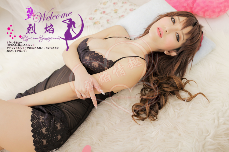 Veegol-HG Classic Grenadine Lace Braces Women Sleepwear Dress & Thong Set