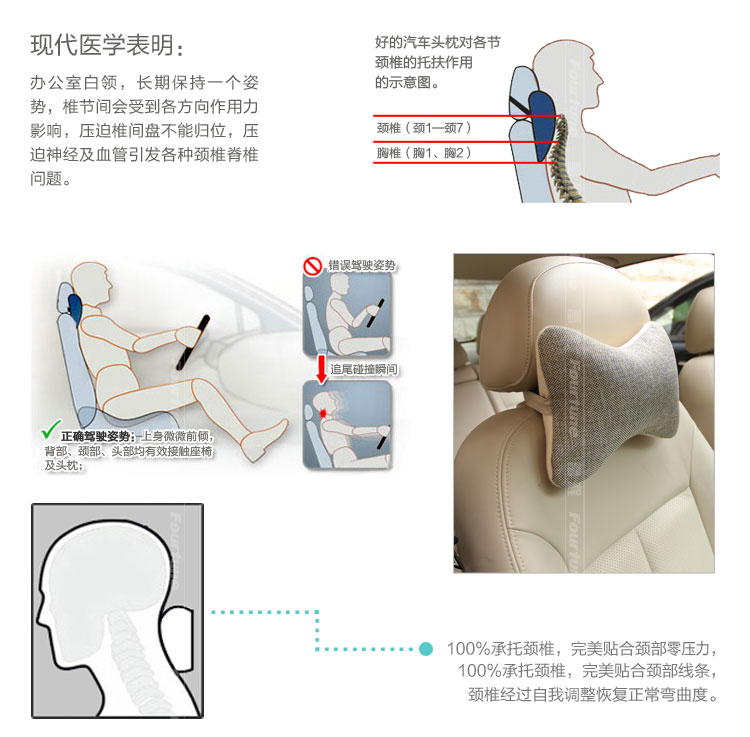 Fu cheng Car headrest lumbar pillow pillow pillow neck pillow for loading car kits email special offers