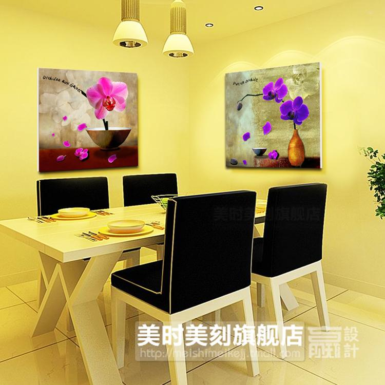Meishimeike America when America carved fresh orchids modern living room interior wall background frameless decorative painting paintings two joint