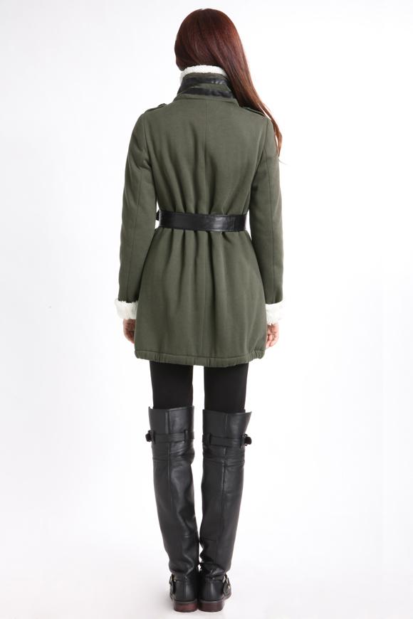 欧莎中长款毛呢尼大衣外套