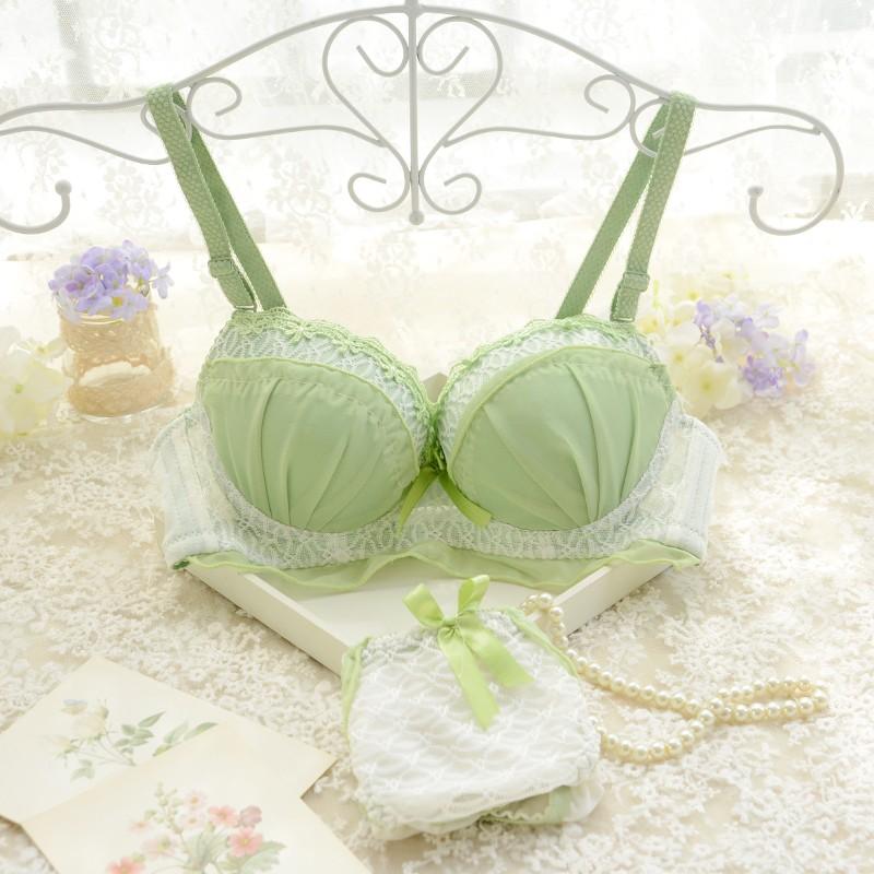 Комплект нижнего белья Девочки бюстгальтер костюм Японский оборками чистый цвет тонкие чашки три грудью нижнее белье Принцесса два штук хлопок