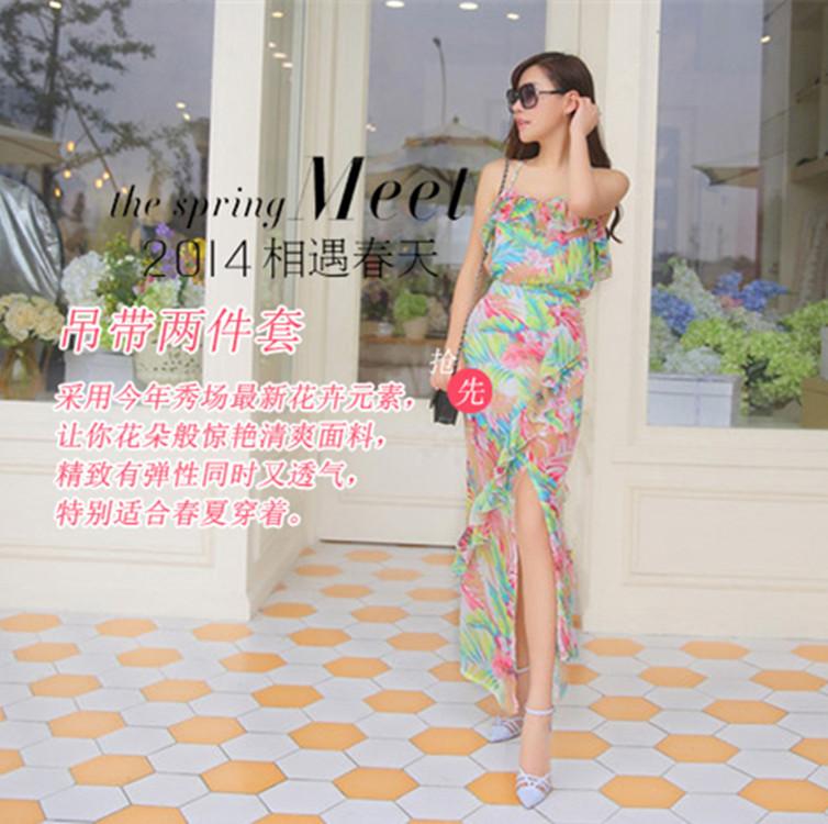 Женское платье 2014 цветочные богиня свежие щели в корейской версии boximiyalu плечо тонкий сексуальный тонкий платье пляж праздник
